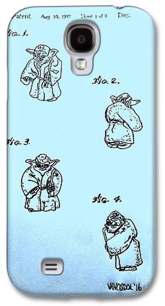 Vintage 1982 Star Wars Yoda Patent - Blue Galaxy S4 Case
