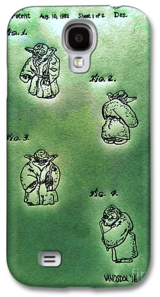 Vintage 1982 Star Wars Yoda Patent - Green Abstract Galaxy S4 Case