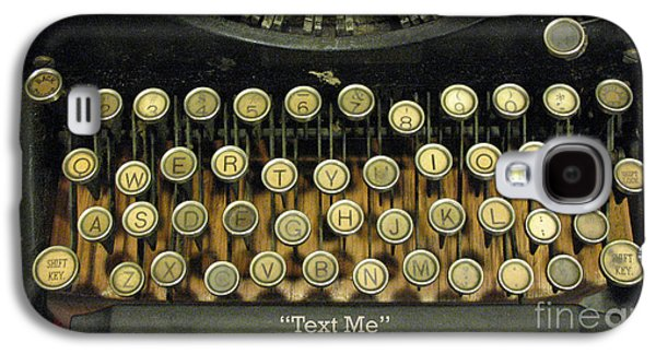 Vintage Antique Typewriter - Text Me - Antique Typewriter Keys Print Black And Gold Galaxy S4 Case