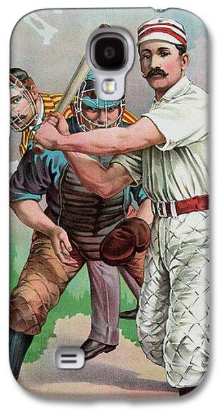 Softball Galaxy S4 Case - Vintage Baseball Card by American School