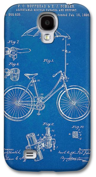 Vintage Bicycle Parasol Patent Artwork 1896 Galaxy S4 Case by Nikki Marie Smith