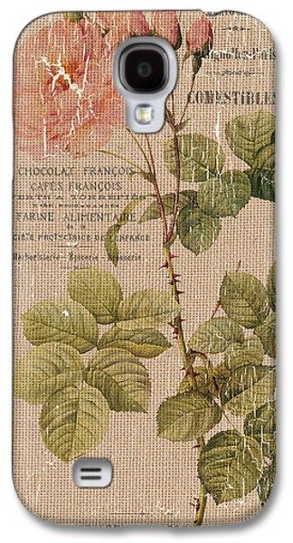 Vintage Burlap Floral 4 Galaxy S4 Case by Debbie DeWitt