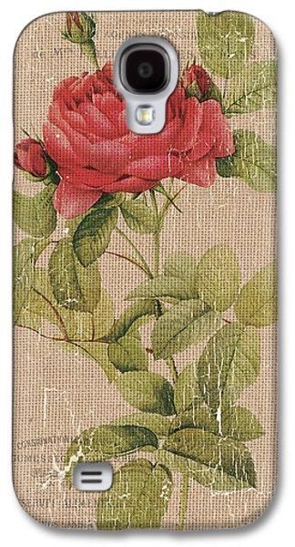 Vintage Burlap Floral Galaxy S4 Case by Debbie DeWitt