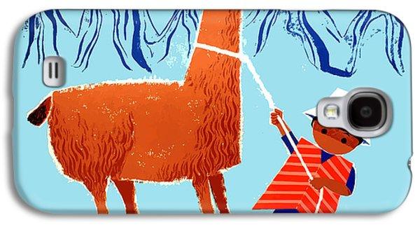 Llama Galaxy S4 Case - Vintage Child And Llama Peru Travel Poster by Retro Graphics