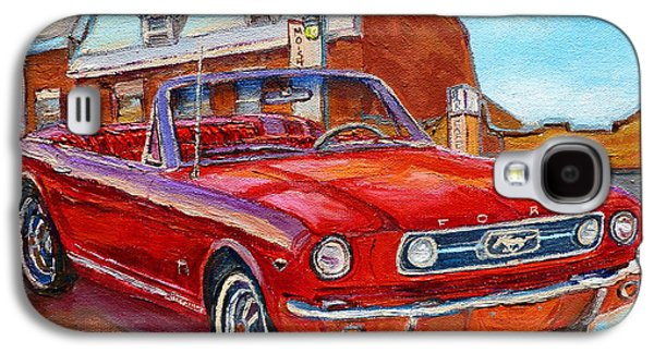 Vintage Classic Cars Paintings Red Mustang At The Diner Montreal Canadian Art Carole Spandau         Galaxy S4 Case by Carole Spandau