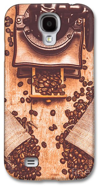 Vintage Grinder With Sacks Of Coffee Beans Galaxy S4 Case by Jorgo Photography - Wall Art Gallery