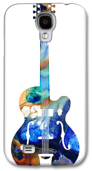 Vintage Guitar - Colorful Abstract Musical Instrument Galaxy S4 Case by Sharon Cummings