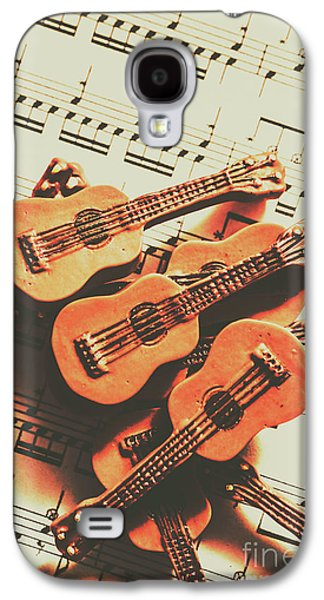 Vintage Guitars On Music Sheet Galaxy S4 Case by Jorgo Photography - Wall Art Gallery