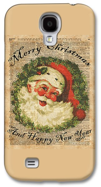 Vintage Happy Santa Christmas Greetings Festive Holidays Decor New Year Card Galaxy S4 Case