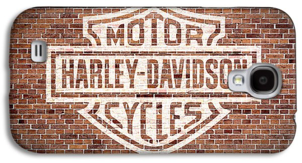 Vintage Harley Davidson Logo Painted On Old Brick Wall Galaxy S4 Case by Design Turnpike