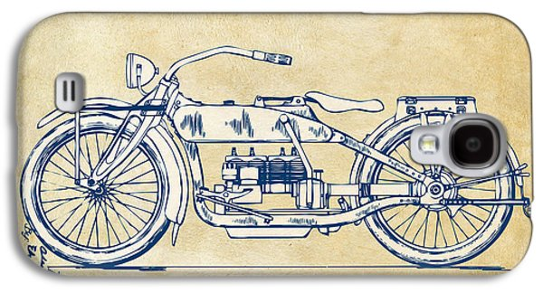 Men Drawings Galaxy S4 Cases - Vintage Harley-Davidson Motorcycle 1919 Patent Artwork Galaxy S4 Case by Nikki Smith