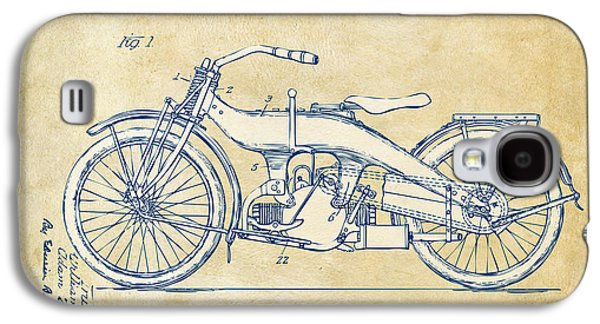 Bike Drawings Galaxy S4 Cases - Vintage Harley-Davidson Motorcycle 1924 Patent Artwork Galaxy S4 Case by Nikki Smith