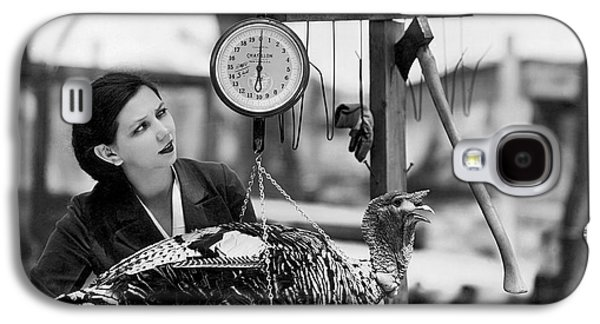 Vintage Holiday Card   Woman Weighing A Turkey Ahead Of The Holidays Galaxy S4 Case by American School