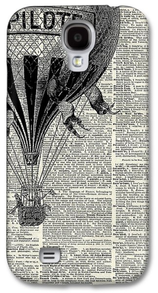 Vintage Hot Air Balloon Illustration,antique Dictionary Book Page Design Galaxy S4 Case