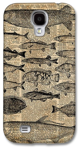 Vintage Illustration Of Fishes Over Old Book Page Dictionary Art Collage Galaxy S4 Case