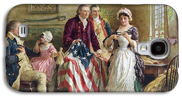 Vintage Illustration Of George Washington Watching Betsy Ross Sew The American Flag Galaxy S4 Case by American School