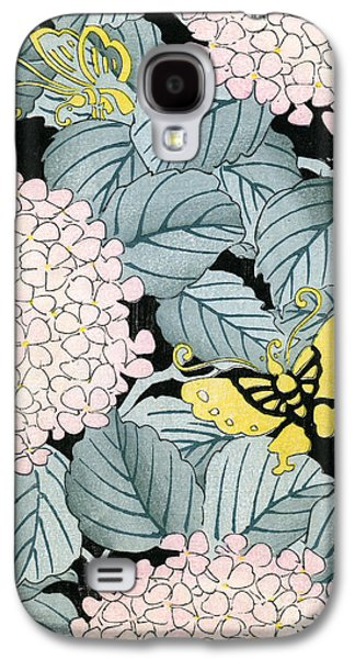 Vintage Japanese Illustration Of A Hydrangea Blossoms And Butterflies Galaxy S4 Case