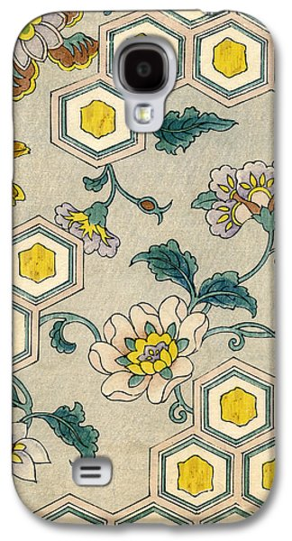 Vintage Japanese Illustration Of Blossoms On A Honeycomb Background Galaxy S4 Case