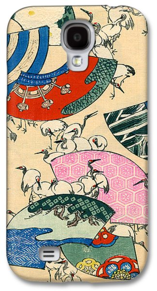 Vintage Japanese Illustration Of Fans And Cranes Galaxy S4 Case by Japanese School