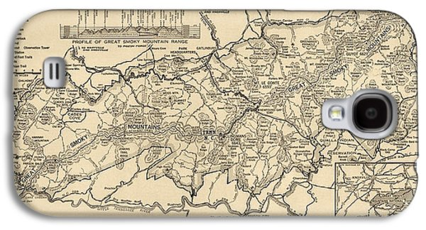 Vintage Map Of Great Smoky Mountains National Park From 1941 Galaxy S4 Case by Blue Monocle