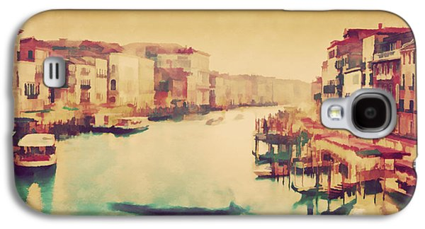 Vintage Painting Of Venice, Italy. Gondola Floats On Grand Canal Galaxy S4 Case by Michal Bednarek