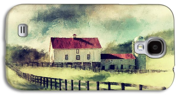 Vintage Red Roof Barn Galaxy S4 Case by Lois Bryan