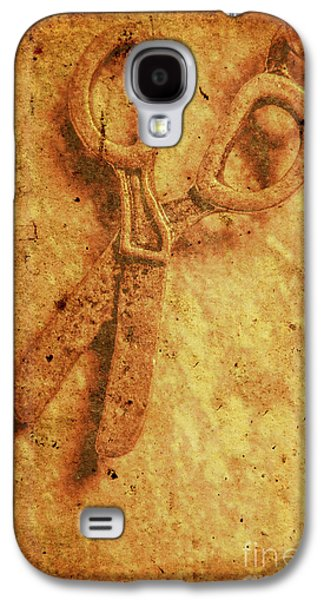 Vintage Scissors On Textured Book Cover Paper Galaxy S4 Case by Jorgo Photography - Wall Art Gallery
