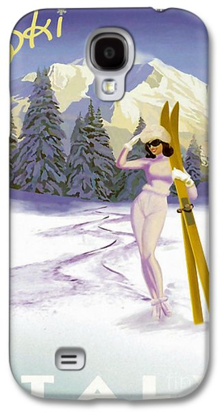 Vintage Skiing Glamour Galaxy S4 Case by Mindy Sommers