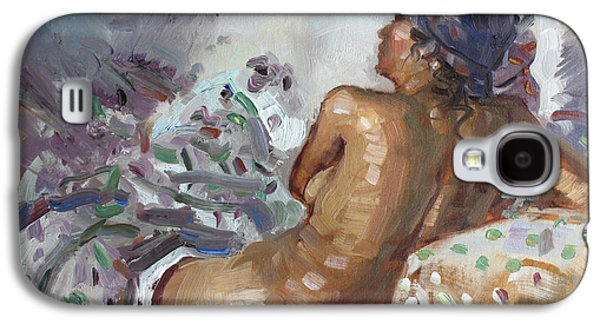Nude In Violet Galaxy S4 Case by Ylli Haruni