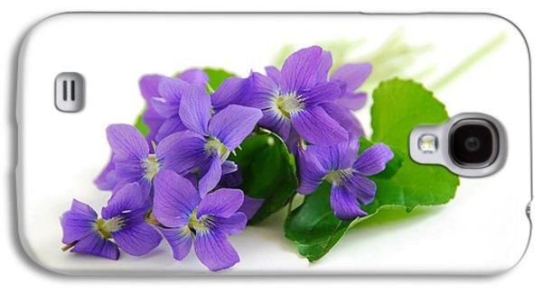 Violets On White Background Galaxy S4 Case by Elena Elisseeva