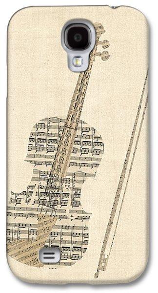 Violin Galaxy S4 Case - Violin Old Sheet Music by Michael Tompsett
