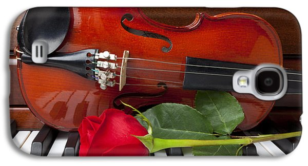 Violin With Rose On Piano Galaxy S4 Case