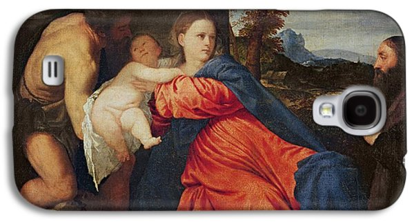 Virgin And Infant With Saint John The Baptist And Donor Galaxy S4 Case by Titian