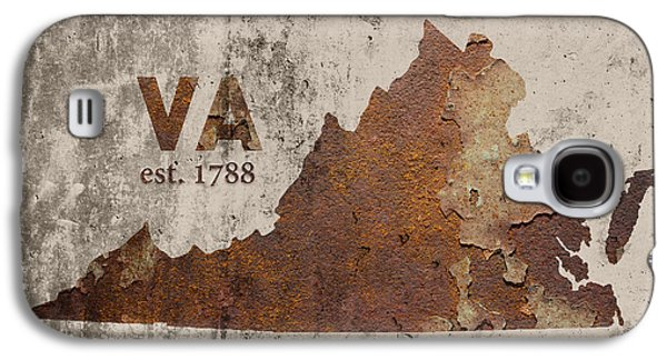 Virginia State Map Industrial Rusted Metal On Cement Wall With Founding Date Series 028 Galaxy S4 Case by Design Turnpike
