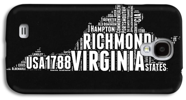 Virginia Word Cloud Black And White Map Galaxy S4 Case