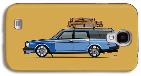 Volvo 245 Brick Wagon 200 Series Blue Shopping Wagon Galaxy S4 Case by Monkey Crisis On Mars