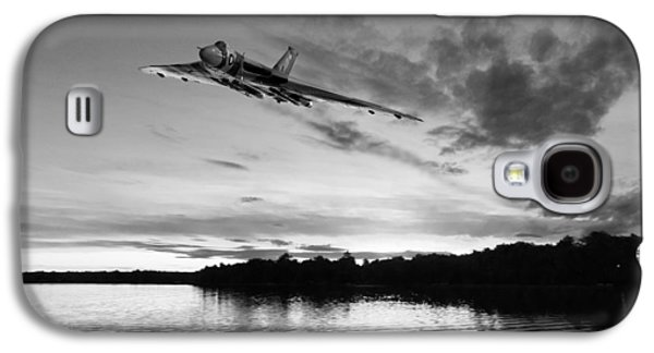 Galaxy S4 Case featuring the digital art Vulcan Low Over A Sunset Lake Sunset Lake Bw by Gary Eason