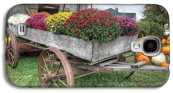 Wagon Farm Mums Pumpkin Agriculture Barn Galaxy S4 Case by Jane Linders
