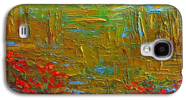 Waking Up At Dawn Poppy Field Modern Impressionist Landscape Palette Knife Oil Painting Galaxy S4 Case by Patricia Awapara