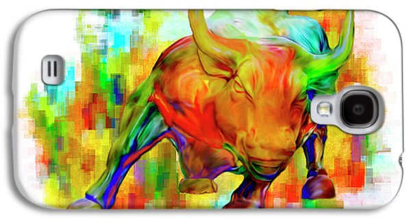 Stainless Steel Galaxy S4 Case - Wall Street Bull by Jack Zulli