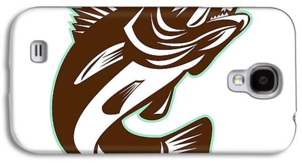 Walleye Fish Jumping Isolated Retro Galaxy S4 Case by Aloysius Patrimonio