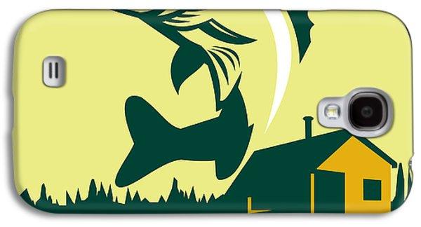 Walleye Fish Lake Lodge Cabin Circle Retro Galaxy S4 Case by Aloysius Patrimonio