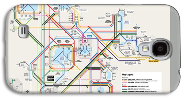 Walt Disney World Resort Transportation Map Galaxy S4 Case