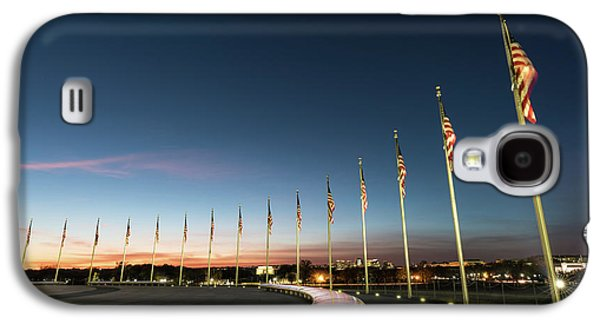 Lincoln Memorial Galaxy S4 Case - Washington Monument Flags by Larry Marshall