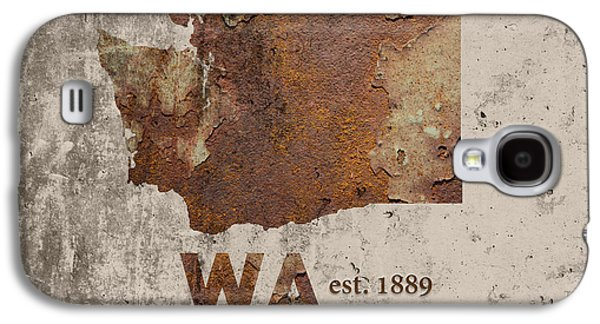 Washington State Map Industrial Rusted Metal On Cement Wall With Founding Date Series 042 Galaxy S4 Case by Design Turnpike