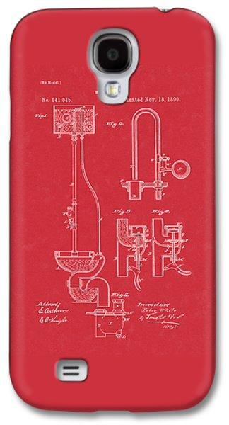 Water Closet Patent Art Red Galaxy S4 Case