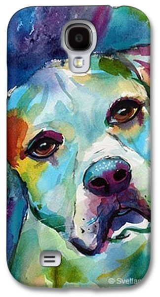 Colorful Galaxy S4 Case - Watercolor American Bulldog Painting By by Svetlana Novikova