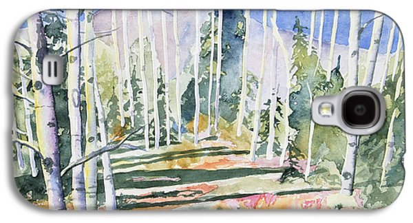 Watercolor - Colorado Aspen And Mountain Landscape Galaxy S4 Case by Cascade Colors
