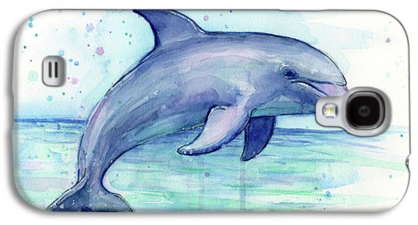 Watercolor Dolphin Painting - Facing Right Galaxy S4 Case by Olga Shvartsur