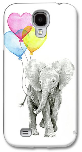 Watercolor Elephant With Heart Shaped Balloons Galaxy S4 Case by Olga Shvartsur